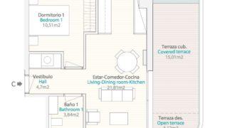 Апартаменты в Бенидорме, Испания, 76 м2