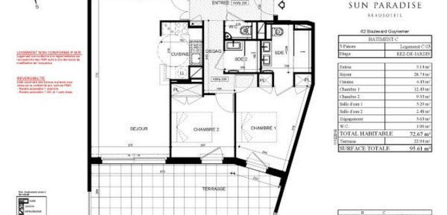 3-комнатные апартаменты C 03 в новостройке Sun Paradise в Босолей